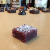Raspberry-chocolate pate de fruit. I've never seen PDF made with chocolate before Chef Ramon.