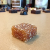 Mango-passion fruit-gianduja pate de fruit.