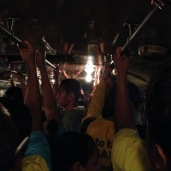 Riding the bus after the King's birthday celebration next to the palace = sardines in a can.